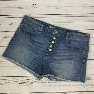 Mossimo High Rise Denim Shorts, Size 14